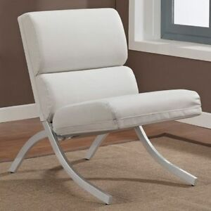 Sensational Details About Rialto Modern White Bonded Leather Brushed Metal Club Living Room Accent Chair Lamtechconsult Wood Chair Design Ideas Lamtechconsultcom