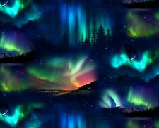 Landscape Medley Sunset on Black Northern Lights By The yard cotton fabric