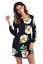 Womens-Flower-Print-long-Sleeve-Top-Blouse-mini-dress-Casual thumbnail 8