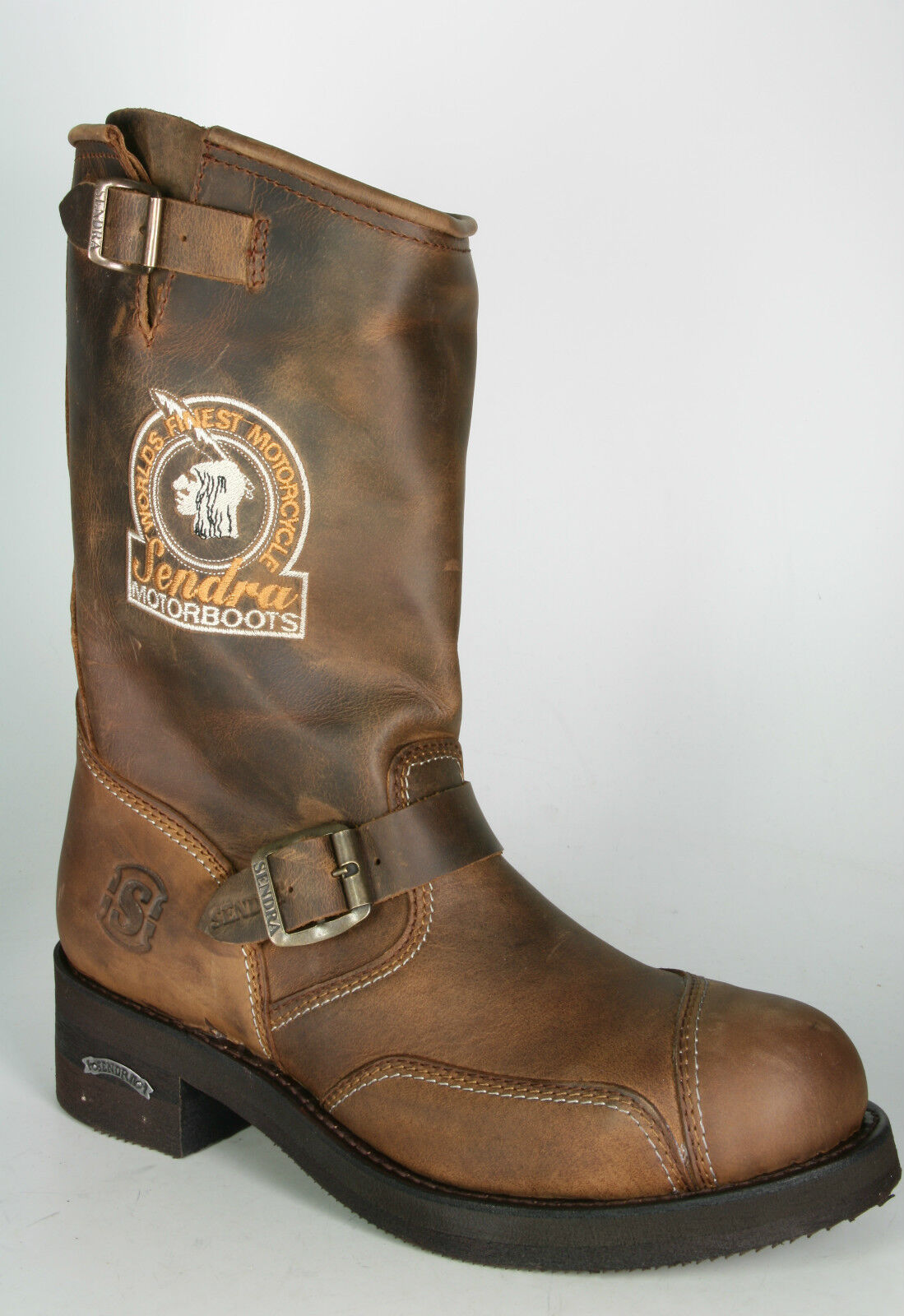 3565 Sendra Engineer Steel Mad Dog Tang Bikerboots Braun