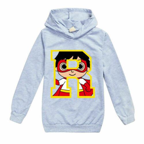 Kids  Girls Boys Ryan Toys Review Hoodies Hooded Sweatshirt Tops Birthday Gift