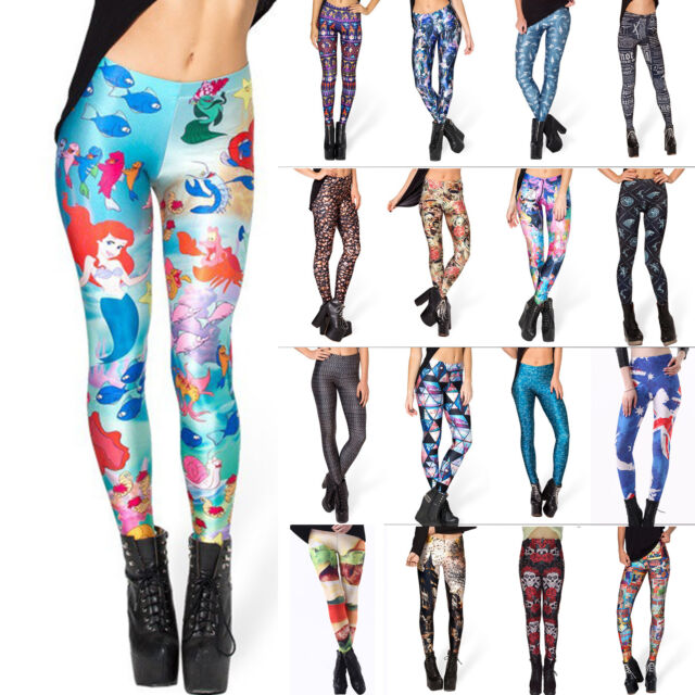 2016 HOT Womens Punk 3D Printed High Waist Stretchy Skinny Pencil Pants Leggings