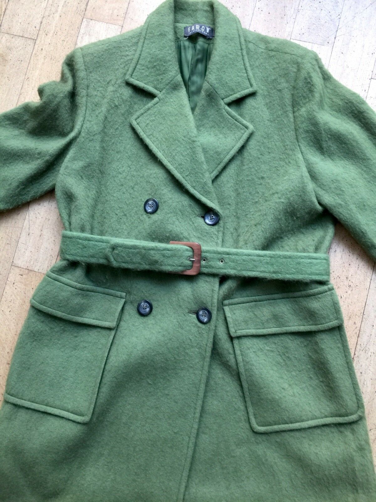 Mantel apfelgrün mit Gürtel   Farrow Fashionfront   Gr. 36