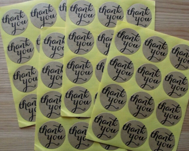 48 'Thank you' Stickers, craft embellishments
