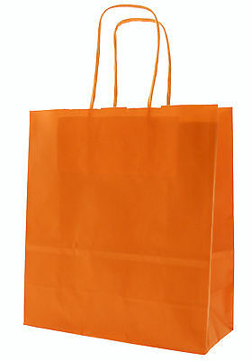 Orange Birthday Party Gift Bags - Kraft Paper Loot Gift Bag With Handles *