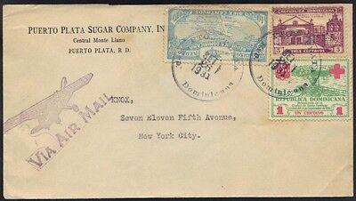 Besorgt Dominica 1931 Luft Post Cvr Puerto Plata To N.y Briefmarken Großbritannien Kolonien Frankierte