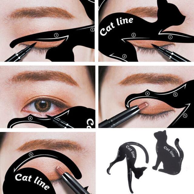 2Pcs Cat Line Pro Eye Makeup Tool Eyeliner Stencils Template Shaper Model FT