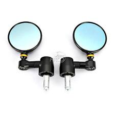 """BLACK CNC ALUMINUM MOTORCYCLE/BIKES 7/8"""" HANDLE BAR END 3"""" SIDE REARVIEW MIRRORS"""
