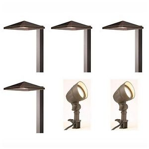 Low voltage led outdoor path landscape light 6 lights for Low voltage walkway lighting sets