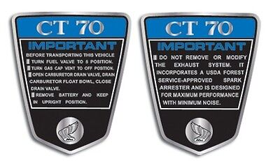 HONDA CT70 1972 K1 SIDE COVER DECALS GRAPHICS LIKE NOS Blue coloration