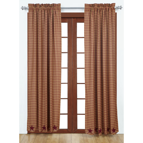 """Burgundy Star Ninepatch Cotton Scalloped Drapery Panels 84/"""" Long Curtains VHC"""