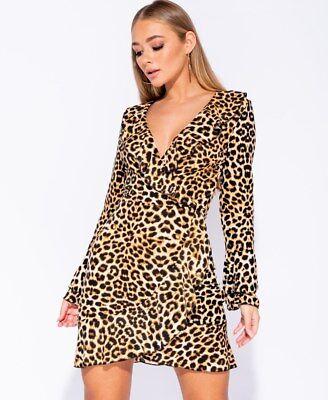 2019 Mode Leopard Print Frill Sleeve Wrapover Mini Dress Bnwt Uk Sizes 6 - 14 Uk Seller Bereitstellung Von Annehmlichkeiten FüR Die Menschen; Das Leben FüR Die BevöLkerung Einfacher Machen