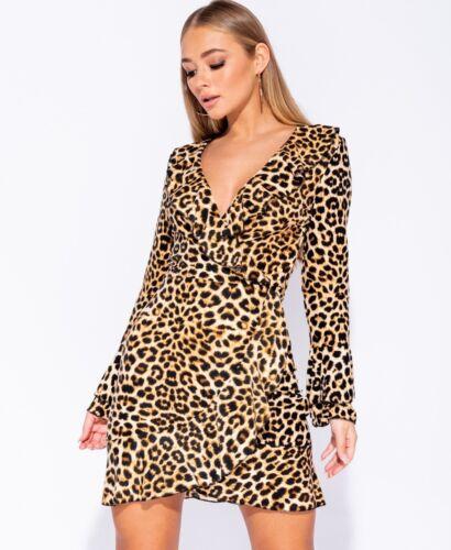 Leopard Print Frill Sleeve Wrapover Mini Dress BNWT UK Sizes 6-14