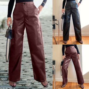 Womens Faux Leather Wide Leg Long Trousers Casual Loose High Waist Palazzo Pants