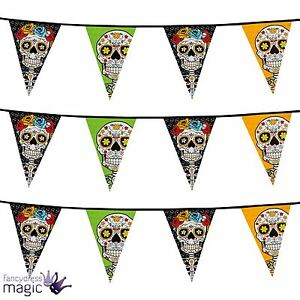 Halloween-Mexican-Day-Of-The-Dead-Party-Skull-20-Flag-Bunting-Garland-Decoration