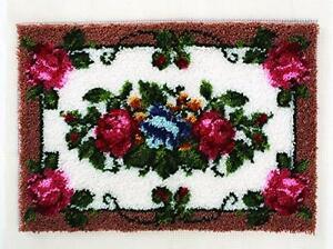 "Wonderart Elegant Roses Latch Hook Kit, 24"" X 34"", New, Free Shipping"