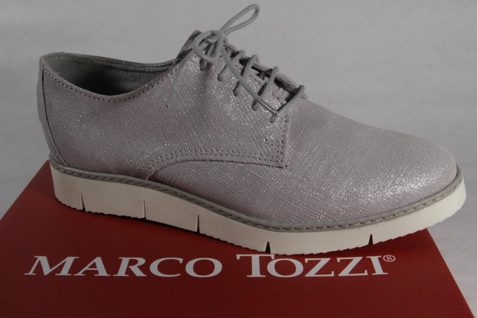 Zapatos casuales salvajes Descuento por tiempo limitado Marco Tozzi Zapatos De Cordones Zapatilla de deporte bajas Gris Cuero Aut. NUEVO