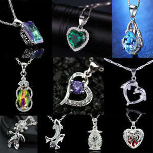 8c552597f40 Details about Fashion 925 Silver Fiiled Crystal Opal Necklace Pendant Women  Jewelry Gift