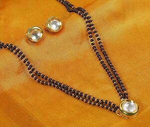 Indian-Mangalsutra-Gold-Plated-Black-Beads-Traditional-Necklace-Pendant-Jewelry