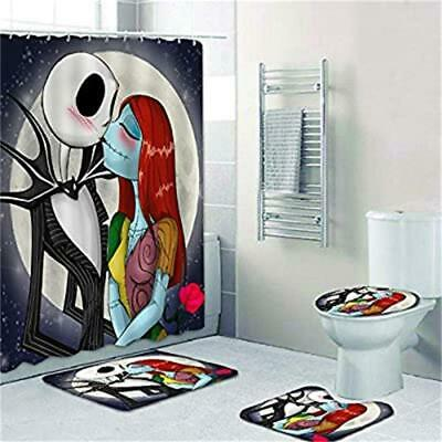 The Nightmare Before Christmas Shower Curtain Toilet Lid Cover Bathroom Rug 4PCS
