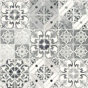 Valence-Tuile-Floral-Papier-Peint-Metallique-Marocain-Noir-Gris-Debona-5010