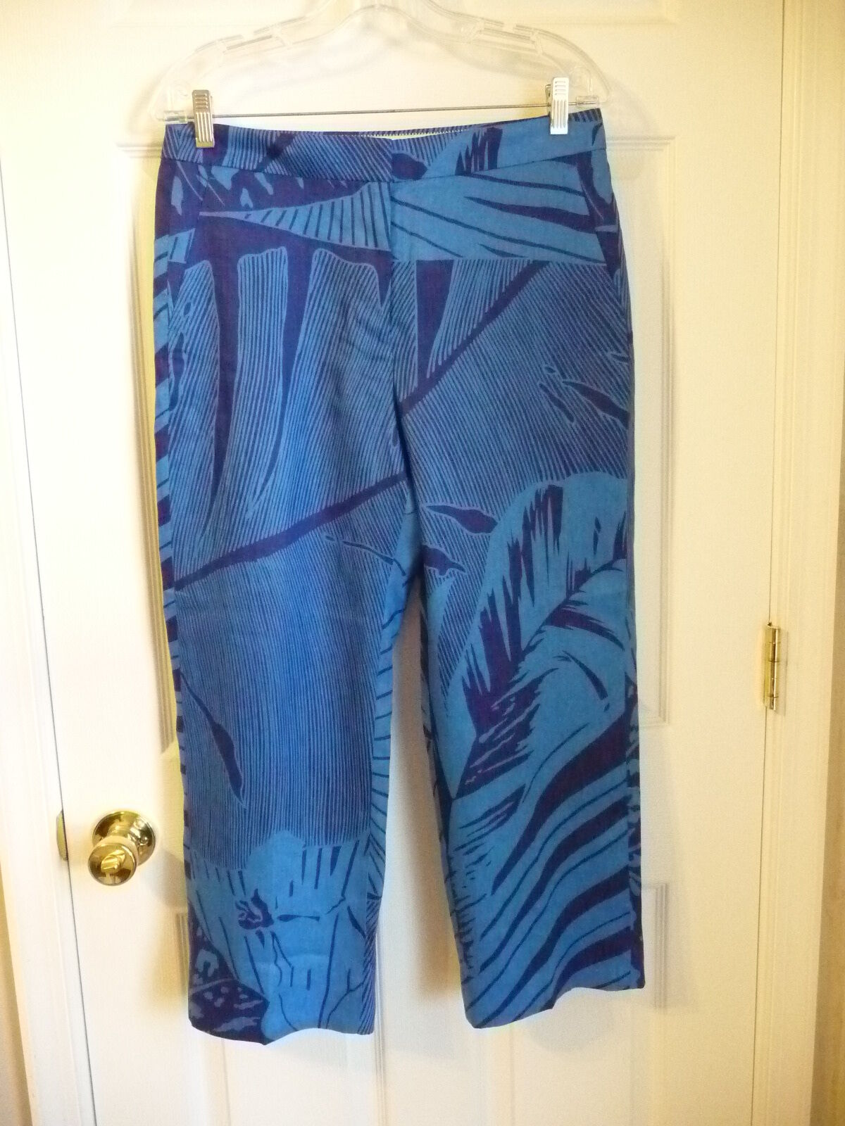 NEW J.CREW PATIO PANT IN PALM FROND, F1402, SIZE 8, INDIGO,  118