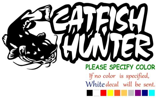 "Catfish Hunter Fishing Funny Vinyl Decal Sticker Car Window laptop tablet 7/"""