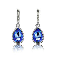Sparkle Crystal Royal Blue Teardrop Dangle Rhinestone Drop Stud Earrings E1132