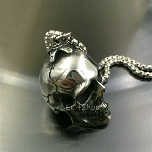 Men/'s Huge Heavy Gothic Punk Silver Tone Skull Stainless Steel Necklace Pendant