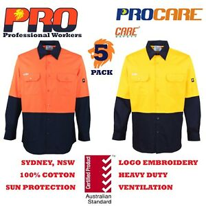 5-pack-Hi-Vis-Work-Shirt-vented-cotton-drill-long-sleeve-Safety-WORKWEAR-no-tape