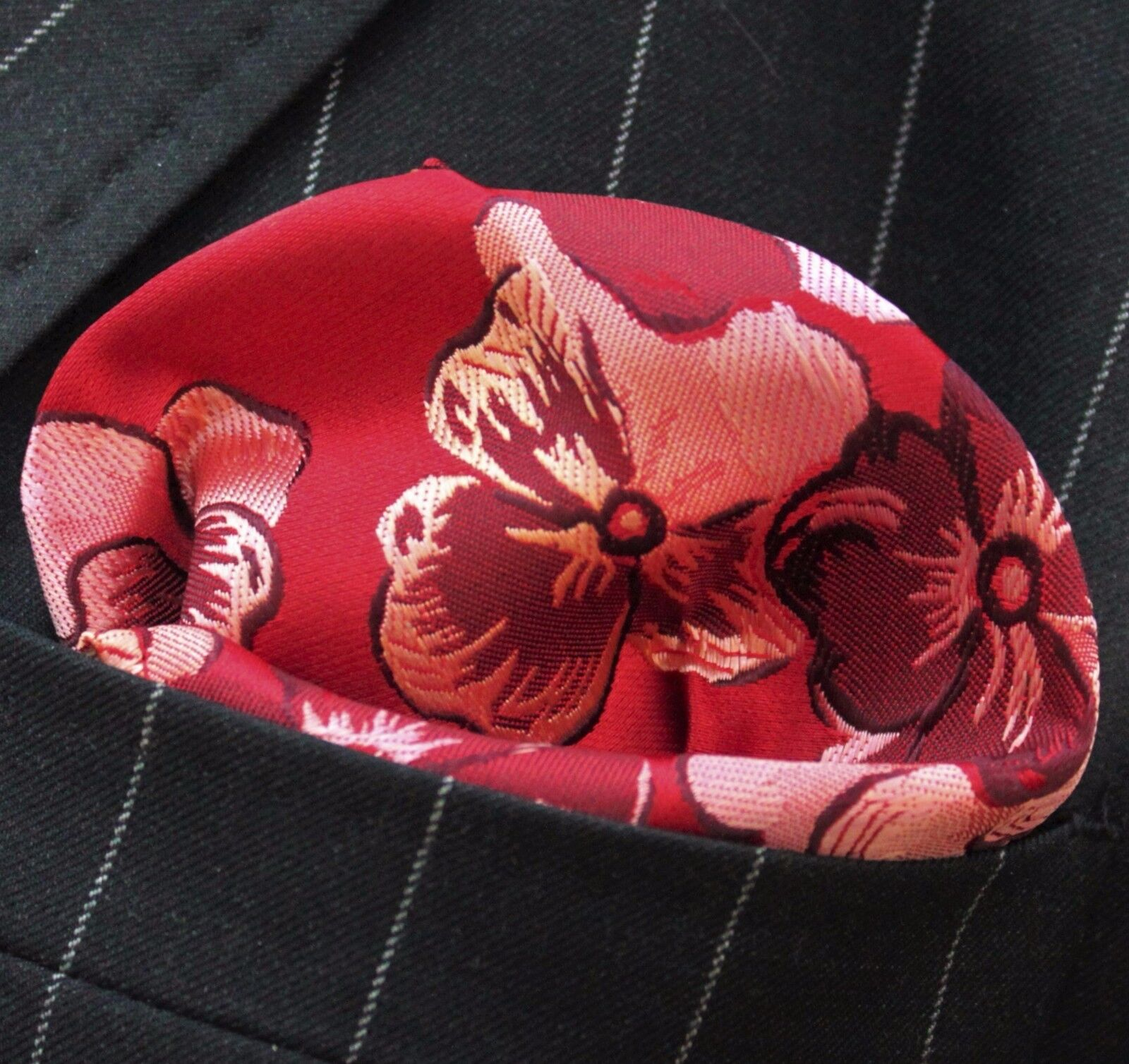 Hankie Pocket Square Handkerchief Red Maroon & Pink Pansy Floral