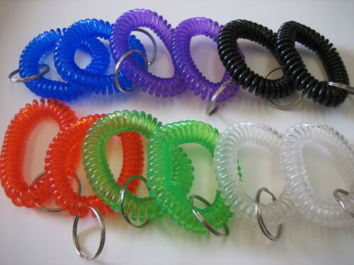 8 Dozen 6 Colors New in Sealed Bag Spiral Wrist Coil Key Chains Lot of 96