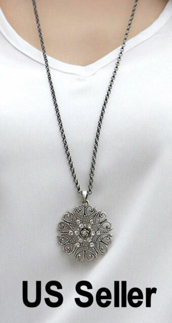 Snowflake pendant + long chain necklace  Free shipping Chrismas gift US seller