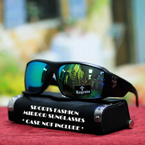 Sports Fashion Large Mirrored Shade Sunglasses Matt Black Classic Frame Mens New