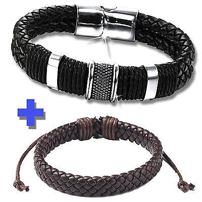 2 STÜCK ! Lederarmband Armband ECHT LEDER für Männer Herren Flechtarmband silber