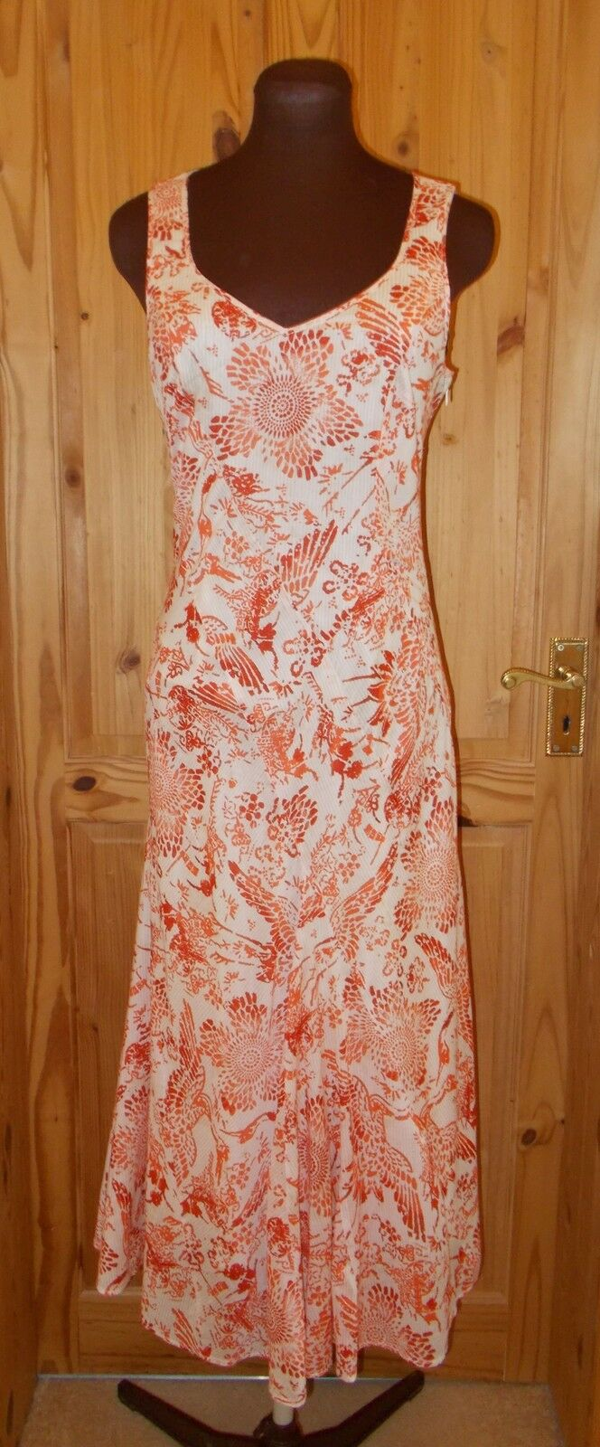 SANDWICH cream coral orange raspberry floral long summer holiday dress 36 8-10
