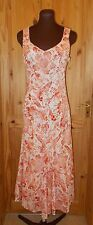 SANDWICH cream coral orange raspberry floral long summer holiday dress 36 8-10