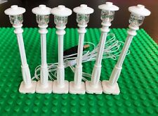 New 6 White Lamp Post led street light for lego usb connected 6 posts