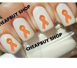 Last Sets Peach Ribbon Uterine Cancer Awareness Tattoo Nail Art