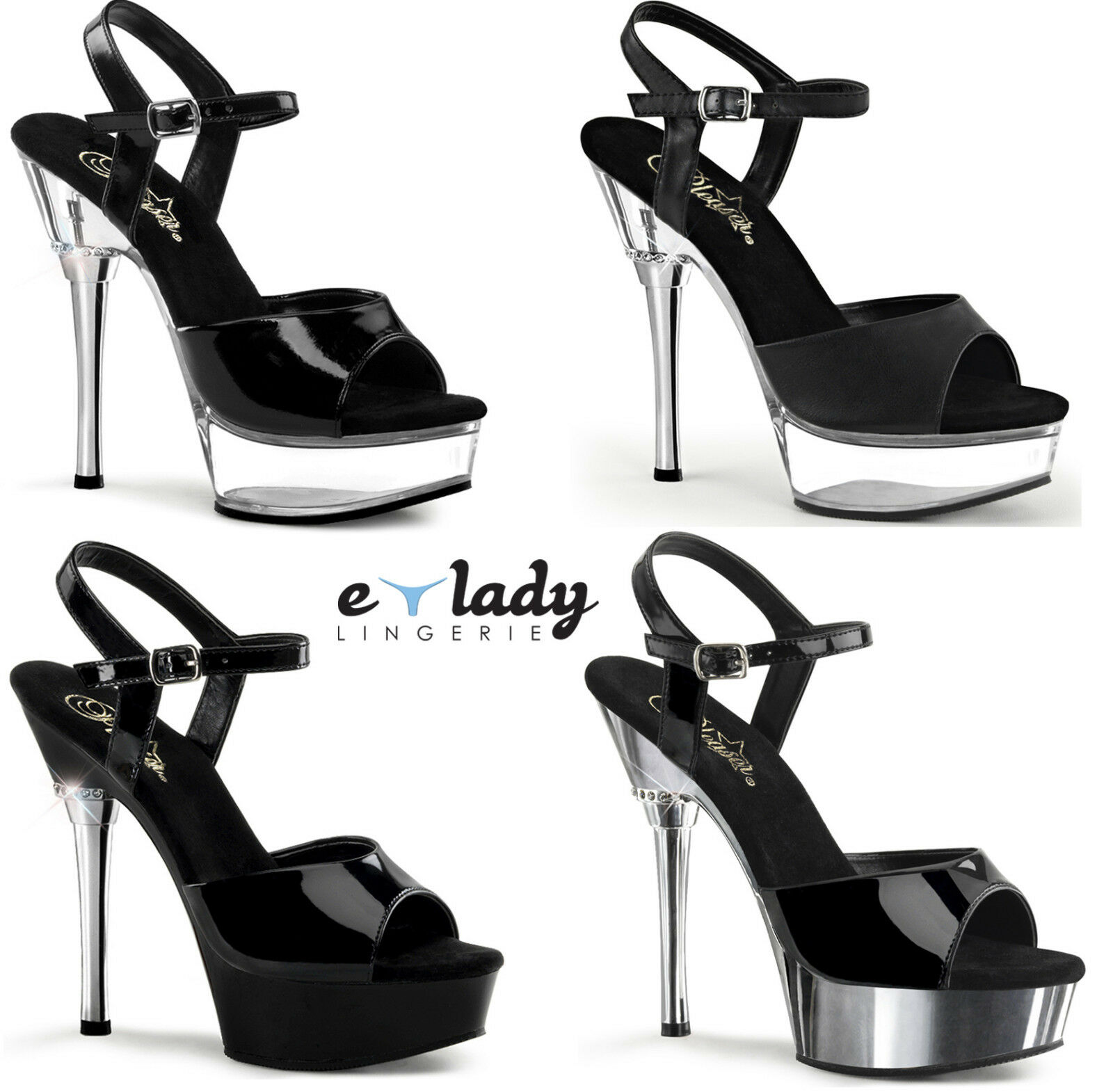 Pleaser Allure-609 Schuhes Platform Sandales Ankle Strap High Heels Pole Dancing