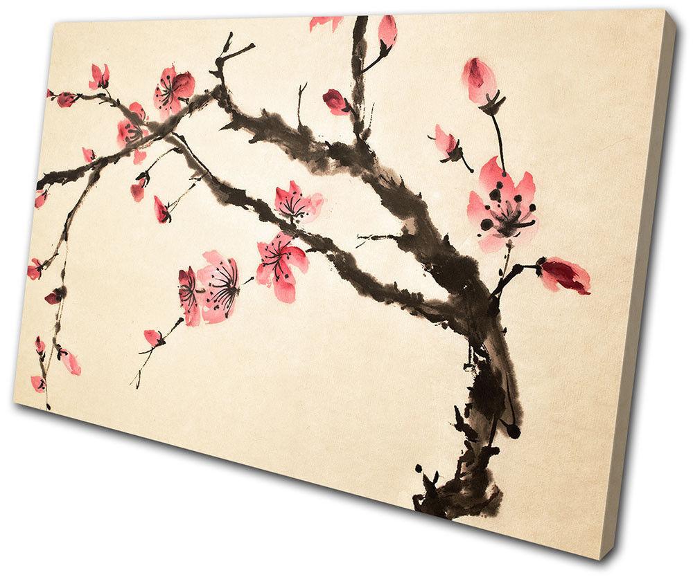 Cherry Blossom Tree Flowers Floral SINGLE TELA parete arte arte arte foto stampa 15576c
