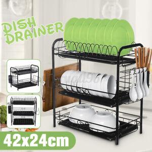3-Tier Iron Dish Drying Rack Dish Rack Drainer Holder Kitchen Storage Space Save