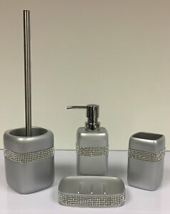 Silver Diamante Bathroom Set Soap Dish Toothbrush Holder Soap