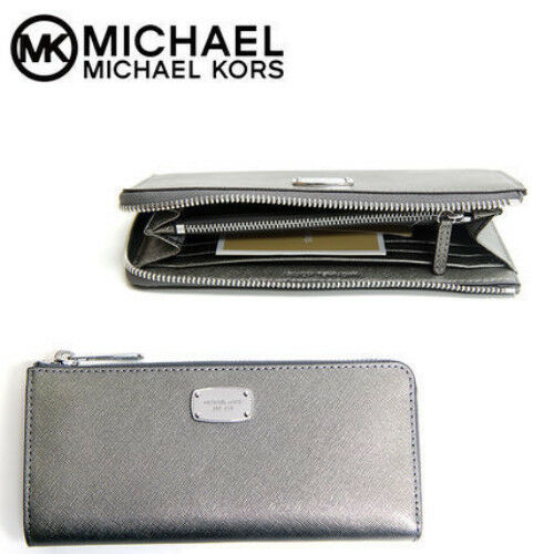 971c21d0caef Michael Kors Jet Set Travel Large 3 4 Zip Leather Wallet - Nickel   Silver  for sale online