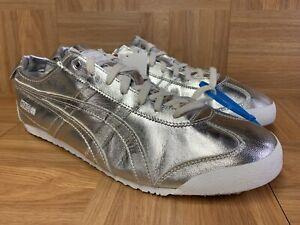 RARE-Asics-Onitsuka-Tiger-Mexico-66-Metallic-Mirror-Silver-Leather-Sz-13-Men-039-s