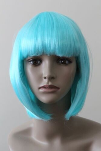 Christmas Party Teal Blue Womens Bob Short Wig Adult Cosplay Fancy Dress Costume