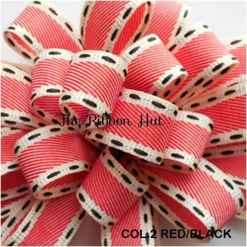 "5//8/"" Berisfords-Per Metre Vintage //Saddle Stitch Ribbon 15mm"