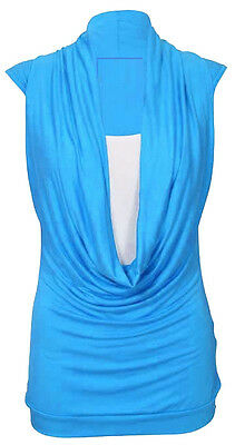 New Ladies Gathered Cowl Neck Womens Sleeveless Long Vest Top Plus Size 16 - 26