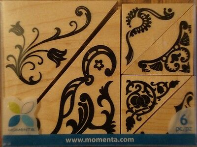 FLOURISH PHOTO CORNERS Rubber Stamp Set 19385 Momenta wood 6 pc set Brand NEW!