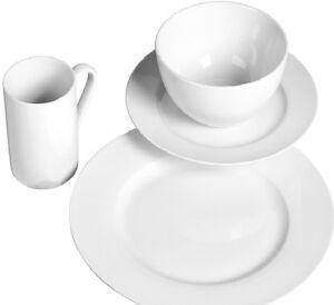 Tabletops Gallery Soleil White Porcelain 32-Piece Dinnerware Set for ...